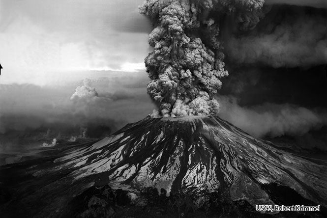 Mount St. Helens erupted on May 18, 1980. (Source: USGS).