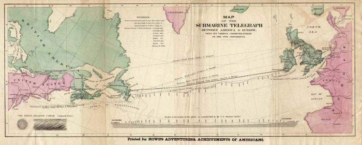 The route of the 1858 transatlantic telegraph cable. Source: Frank Leslie's Illustrated Newspaper, August 21, 1858 (public domain).
