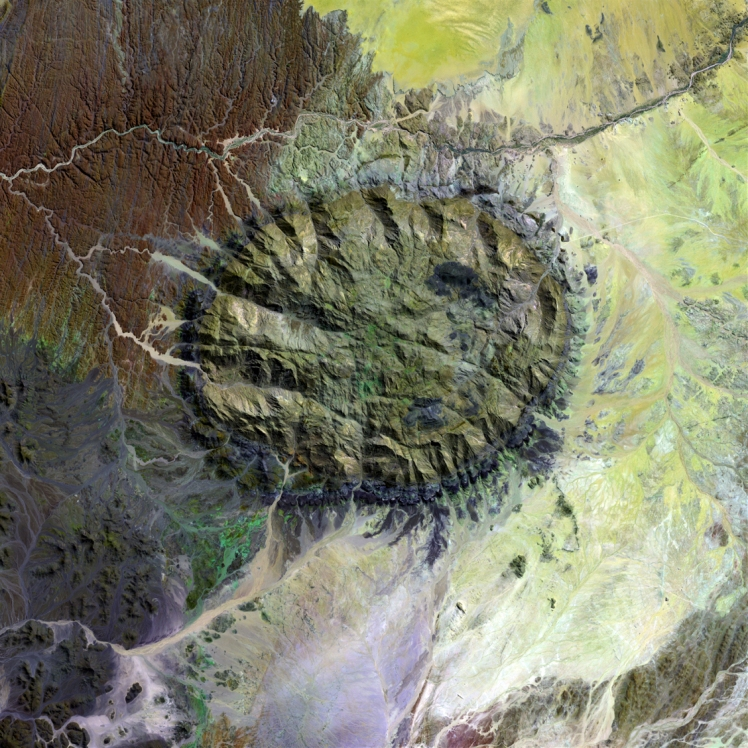 A Landsat 7 image of the granitic Brandberg Igneous Complex in Namibia (Credit: NASA).