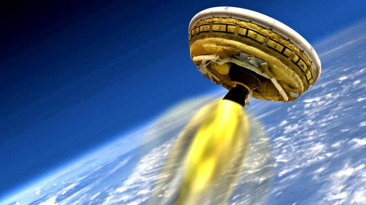 An artist's depiction of the vehicle blazing through the stratosphere. (Source: NASA/JPL-Caltech / AFP/Getty Images)