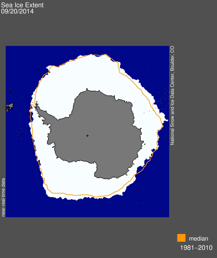Antarctic sea ice set a record for maximum extent in 2014. (Credit: National Snow and Ice Data Center)