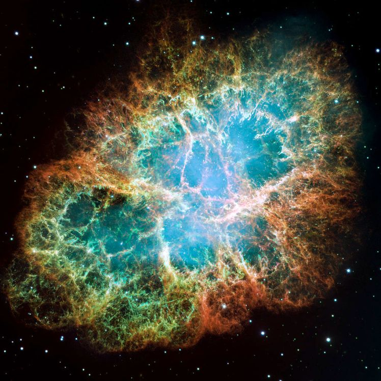 Supernovae, like the one that created the Crab Nebula, shown here, happen a few times per century in galaxies like the Milky Way. (Credit: NASA and STScI)