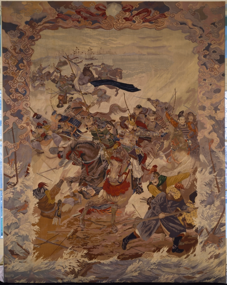 The kamikaze typhoons were commemorated in many pieces of Japanese art, like this tapestry by Kawasaki Jimbei II, modeled after a painting by Morizumo Yugyo. (Public domain)