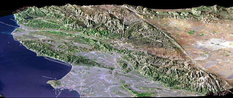 The San Andreas Fault, clearly visible in this Landsat image, poses a significant risk to the residents of Greater Los Angeles. (Credit: NASA/JPL/NIMA)