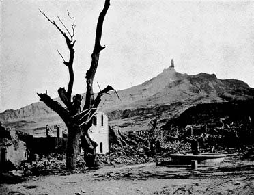After the eruption devastated the town of St. Pierre, a spine of rock rose out of the crater throughout the summer of 1902. (Credit: unknown author, public domain)