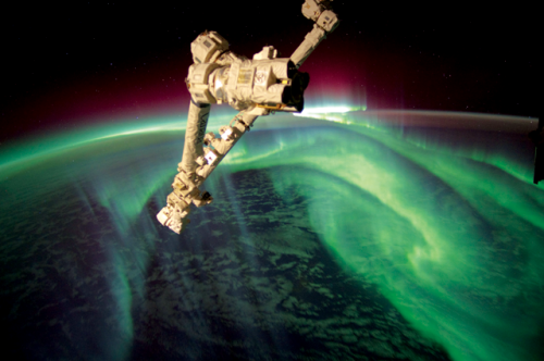 One well-known result of space weather are the aurorae, like these in the southern hemisphere. (Credit: Joe Acaba, NASA)