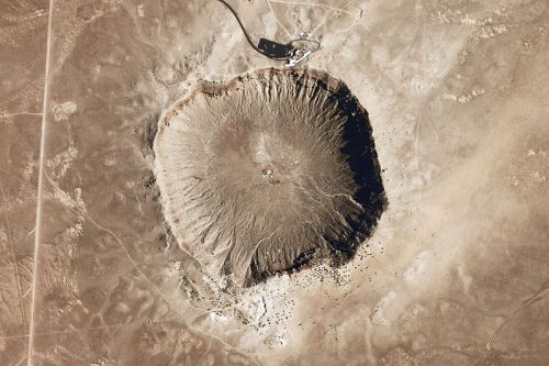 Arizona's meteor crater, from above. (Credit: NASA)