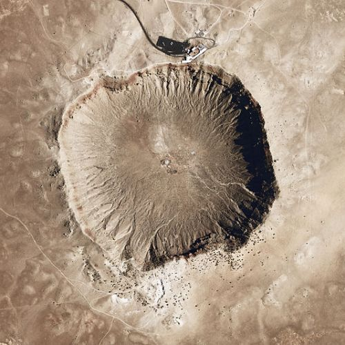 Arizona's meteor crater, from above. (Credit: NASA)