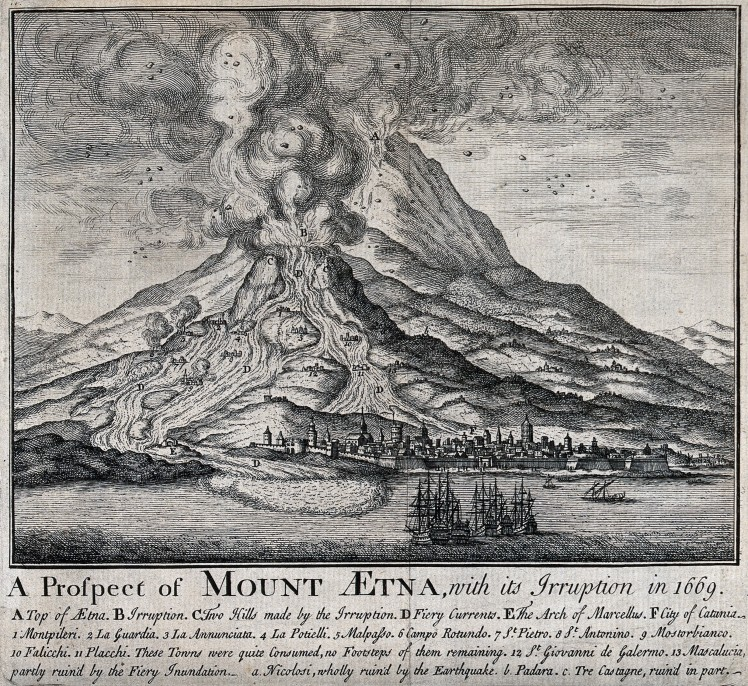 V0025181 The eruption of Mount Etna in 1669. Etching.